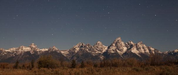 Moonlit Tetons, October 23, 2013