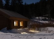 Cabin in the moonlight, January 15, 2014
