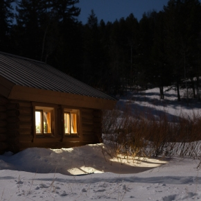 Cabin in the moonlight